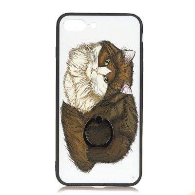KaZiNe Azine Embossment Tpu + Pc Finger Ring Kickstand Cell Phone Case Coffee Cat  for  Iphone 7Plus/8Plus