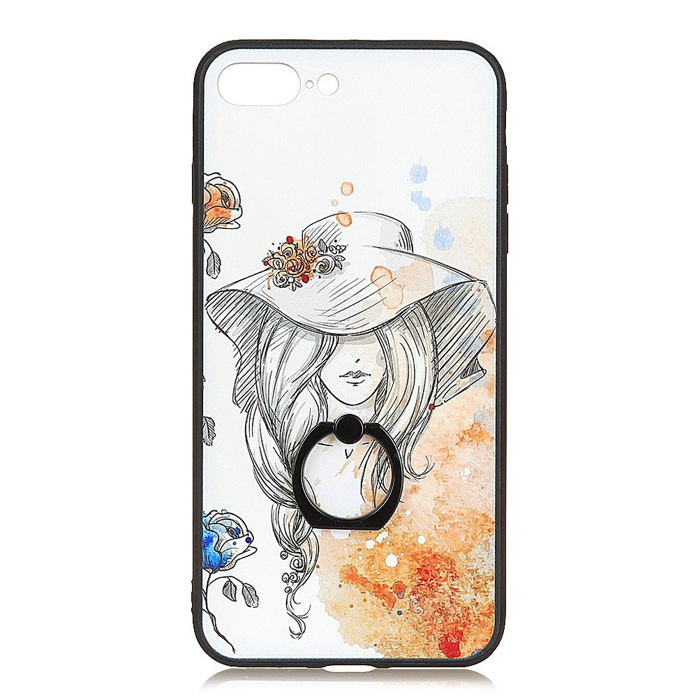 KaZiNe Azine Embossment Tpu + Pc Finger Ring Kickstand Cell Phone Case Yellow Hat Spend for  Iphone 7Plus/8Plus