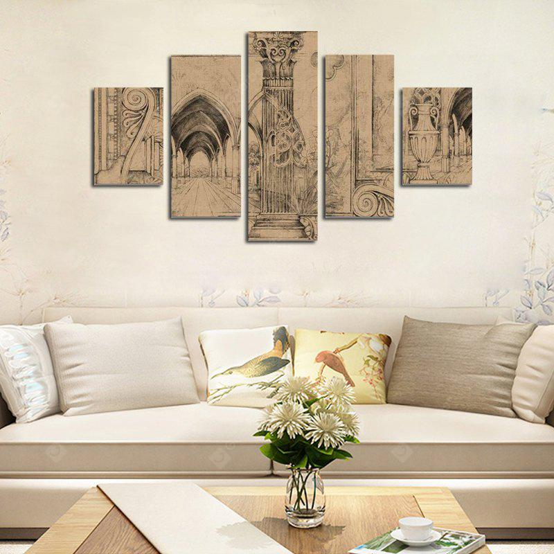 Qiaojiahuayuan No Frame Canvas Decorative Landscape Print Abstract Architecture Painting 5PCS