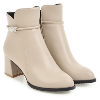 Womens Pointed Toes Ankle Boots Solid All-match Thick Heel ShoesWomens Boots<br>Womens Pointed Toes Ankle Boots Solid All-match Thick Heel Shoes<br><br>Boot Height: Ankle<br>Boot Tube Height: 11<br>Boot Type: Fashion Boots<br>Closure Type: Zip<br>Embellishment: Beading<br>Gender: For Women<br>Heel Height: 6<br>Heel Height Range: Med(1.75-2.75)<br>Heel Type: Chunky Heel<br>Package Contents: 1 x Shoes(pair)<br>Pattern Type: Solid<br>Season: Spring/Fall, Winter<br>Toe Shape: Pointed Toe<br>Upper Material: PU<br>Weight: 1.6588kg