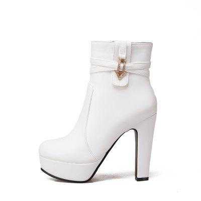 Womens Stylish Sexy Solid Rhinestone Buckle Thick High-Heel Platform Lady ShoesWomens Boots<br>Womens Stylish Sexy Solid Rhinestone Buckle Thick High-Heel Platform Lady Shoes<br><br>Boot Height: Ankle<br>Boot Tube Height: 12<br>Boot Type: Fashion Boots<br>Closure Type: Zip<br>Embellishment: Metal<br>Gender: For Women<br>Heel Height: 12<br>Heel Height Range: Super High(Above4)<br>Heel Type: Chunky Heel<br>Package Contents: 1 x Shoes(pair)<br>Pattern Type: Solid<br>Platform Height: 3.5<br>Season: Spring/Fall, Winter<br>Toe Shape: Round Toe<br>Upper Material: PU<br>Weight: 1.6588kg