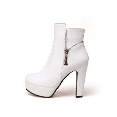 Womens Ankle Boots Stylish Solid Color Thick Heel Platform Zipper Design Elegant ShoesWomens Boots<br>Womens Ankle Boots Stylish Solid Color Thick Heel Platform Zipper Design Elegant Shoes<br><br>Boot Height: Ankle<br>Boot Tube Height: 12<br>Boot Type: Fashion Boots<br>Closure Type: Zip<br>Embellishment: Metal<br>Gender: For Women<br>Heel Height: 12<br>Heel Height Range: Super High(Above4)<br>Heel Type: Chunky Heel<br>Package Contents: 1 x Shoes(pair)<br>Pattern Type: Solid<br>Platform Height: 3.5<br>Season: Spring/Fall, Winter<br>Toe Shape: Round Toe<br>Upper Material: PU<br>Weight: 1.6588kg