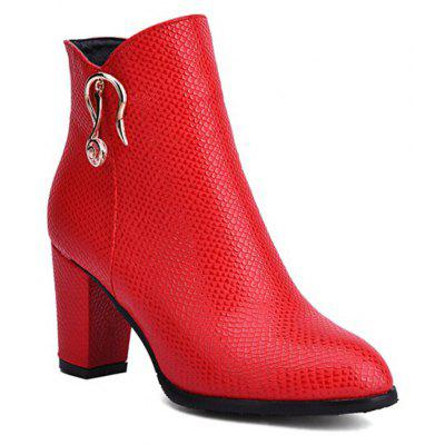 Women's Boots Side Zipper Solid Color Fashion All Match Ankle Thick Heel Round Toe Shoes