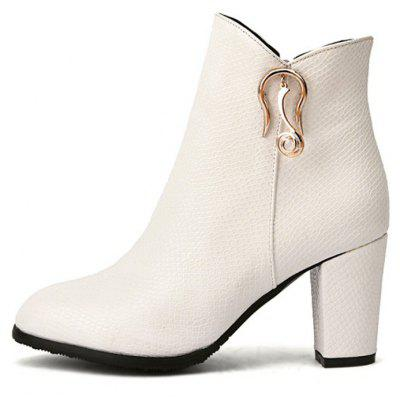 Womens Boots Side Zipper Solid Color Fashion All Match Ankle Thick Heel Round Toe ShoesWomens Boots<br>Womens Boots Side Zipper Solid Color Fashion All Match Ankle Thick Heel Round Toe Shoes<br><br>Boot Height: Ankle<br>Boot Tube Height: 11<br>Boot Type: Fashion Boots<br>Closure Type: Zip<br>Embellishment: Metal<br>Gender: For Women<br>Heel Height: 8<br>Heel Height Range: High(3-3.99)<br>Heel Type: Chunky Heel<br>Package Contents: 1 x Shoes(pair)<br>Pattern Type: Solid<br>Season: Spring/Fall, Winter<br>Toe Shape: Round Toe<br>Upper Material: PU<br>Weight: 1.6588kg