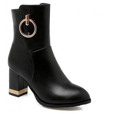 Women's Ankle Metal Circle Decor Solid Color Side Zipper Stylish Boots