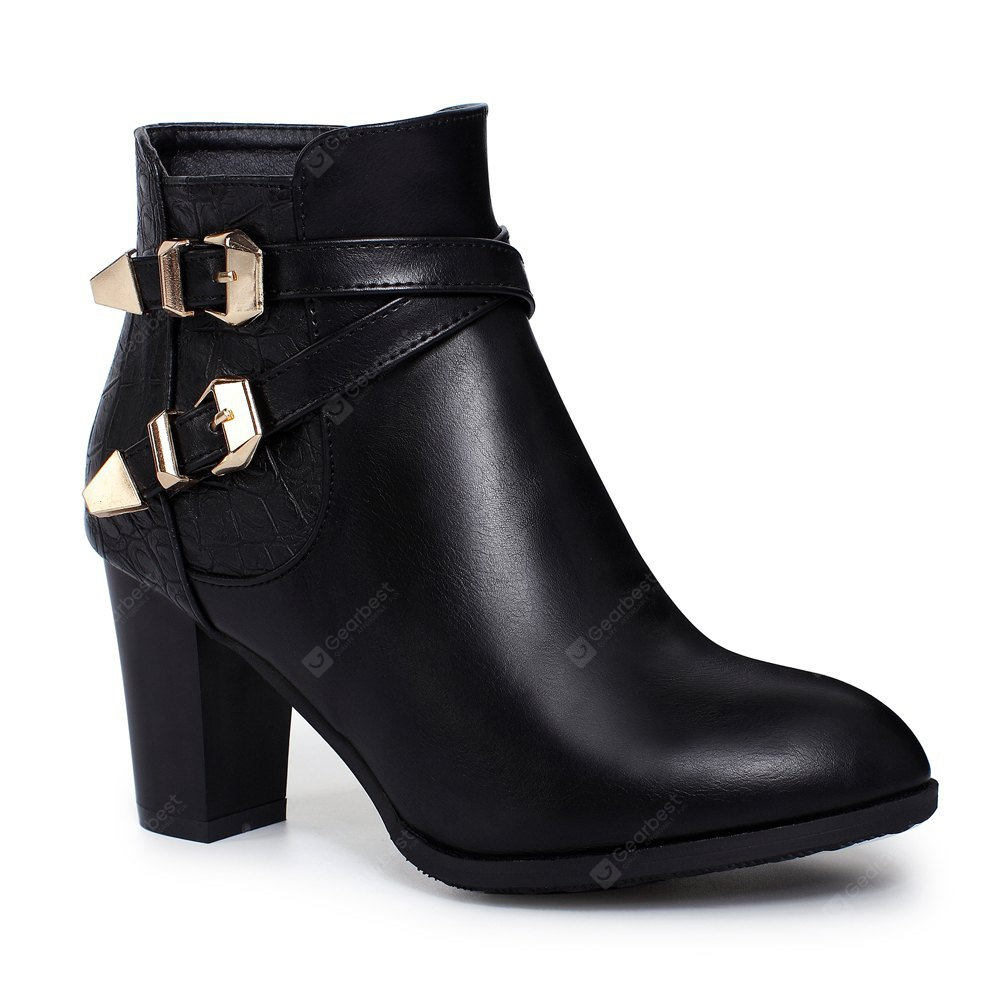 Women's Ankle Round Toe Thick Heel Strap Buckle Decor Casual Boots