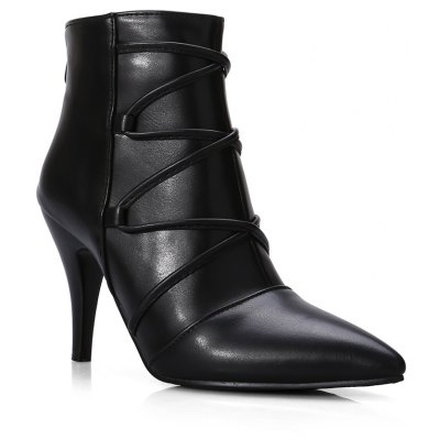 Women's Martin Boots Pointed Toe Thin Heel Zipper Chic