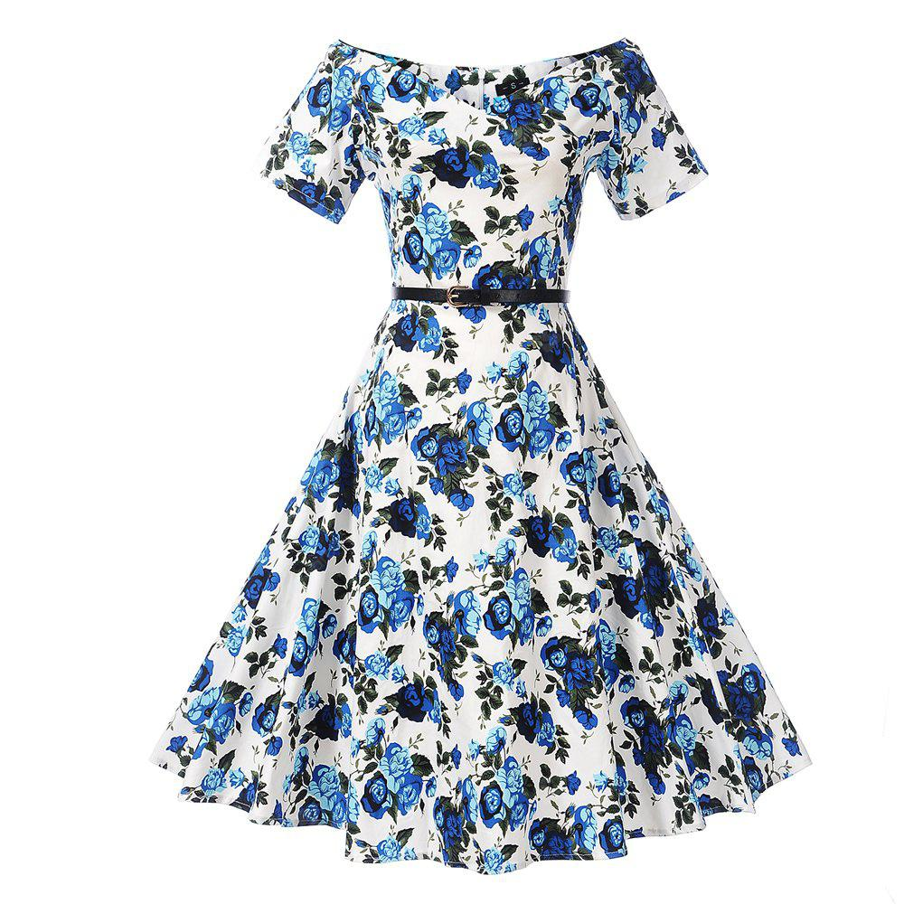 Vintage Flower Print Women Dress Off The Shoulder A-line Summer Fashion
