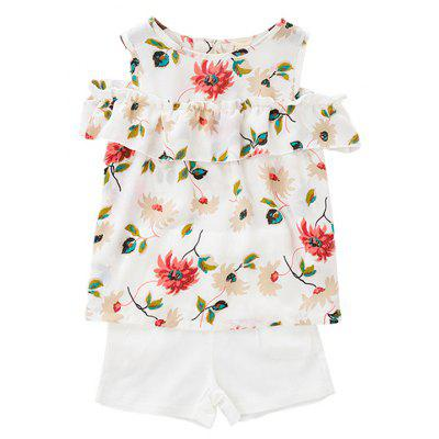 Girls Two-piece Suit with Rpund Neck Sleeveless Top and White Shorts