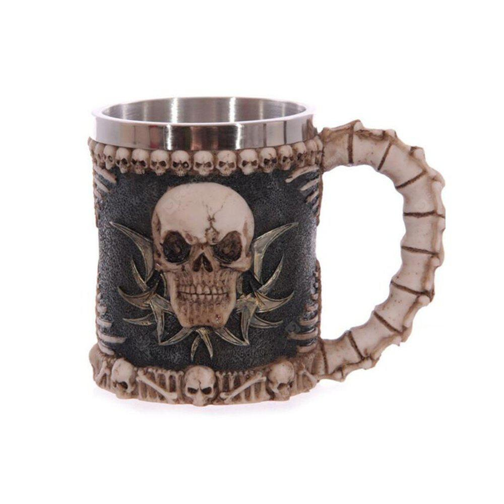 Creative 3D Stereo Skull Face Resin Case Stainless Steel Cup