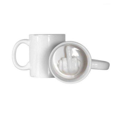 Funny Creative Middle Finger Ceramic Cup White