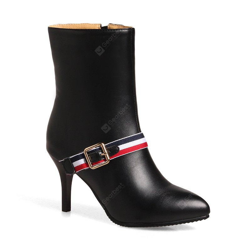 Women's Shoes Winter Fashion Stiletto Heel Pointed Toe Mid-Calf Boots Split Joint Zipper