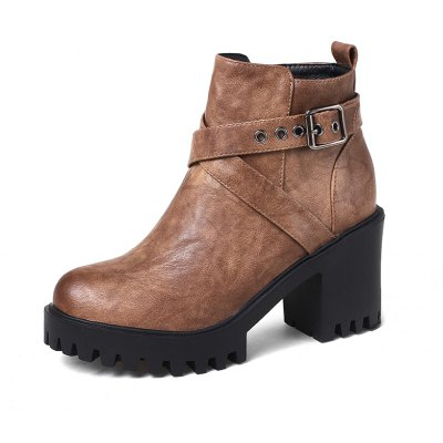 Womens Shoes Leatherette Winter Fashion Bootie Chunky Heel Round Toe  Buckle Zipper Casual DressWomens Boots<br>Womens Shoes Leatherette Winter Fashion Bootie Chunky Heel Round Toe  Buckle Zipper Casual Dress<br><br>Boot Height: Ankle<br>Boot Tube Circumference: 33<br>Boot Tube Height: 12<br>Boot Type: Fashion Boots<br>Closure Type: Zip<br>Embellishment: Buckle<br>Gender: For Women<br>Heel Height: 8<br>Heel Height Range: High(3-3.99)<br>Heel Type: Chunky Heel<br>Insole Material: PU<br>Lining Material: PU<br>Outsole Material: Rubber<br>Package Contents: 1xShoes(pair)<br>Pattern Type: Solid<br>Platform Height: 2.5<br>Season: Winter<br>Shoe Width: Medium(B/M)<br>Toe Shape: Round Toe<br>Upper Material: PU<br>Weight: 1.9800kg