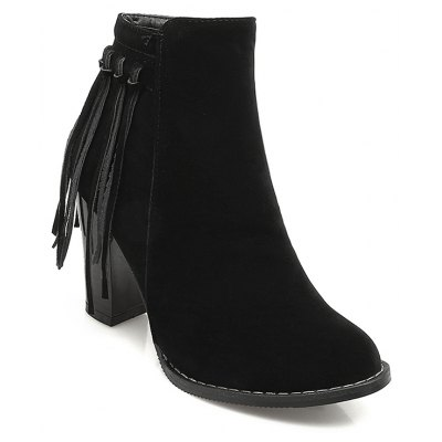 Women's Shoes Winter Fashion Chunky Heel Round Toe Ankle Boots Tassel Zipper