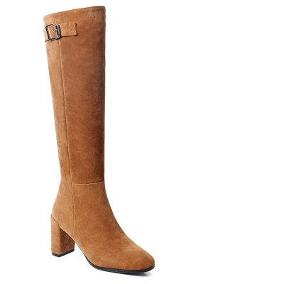 Buy BROWN 35 Women's Shoes Real Leather Winter Riding Boots Fashion Chunky Heel Round Toe Knee High Boots for $96.15 in GearBest store