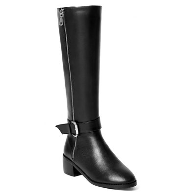 Buy BLACK 37 Women's Shoes Real Leather Winter Riding Fashion Boots Chunky Heel Round Toe Knee High Boots Buckle Zipper for $102.06 in GearBest store