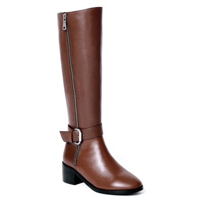 Buy BROWN 34 Women's Shoes Real Leather Winter Riding Fashion Boots Chunky Heel Round Toe Knee High Boots Buckle Zipper for $75.99 in GearBest store