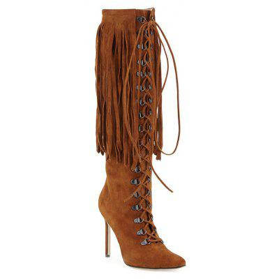 Women Formal Shoes Fashion Boots Leatherette Winter Casual Zipper Lace-up Tassel Stiletto Heel