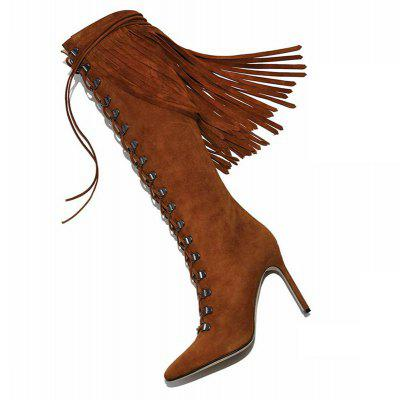 Women Formal Shoes Fashion Boots Leatherette Winter Casual Zipper Lace-up Tassel Stiletto HeelWomens Boots<br>Women Formal Shoes Fashion Boots Leatherette Winter Casual Zipper Lace-up Tassel Stiletto Heel<br><br>Boot Height: Knee-High<br>Boot Tube Circumference: 33<br>Boot Tube Height: 42<br>Boot Type: Fashion Boots<br>Closure Type: Lace-Up<br>Embellishment: Tassel<br>Gender: For Women<br>Heel Height: 12<br>Heel Height Range: Super High(Above4)<br>Heel Type: Stiletto Heel<br>Insole Material: PU<br>Lining Material: PU<br>Outsole Material: Rubber<br>Package Contents: 1xShoes(pair)<br>Pattern Type: Solid<br>Platform Height: 1<br>Season: Winter<br>Shoe Width: Medium(B/M)<br>Toe Shape: Pointed Toe<br>Upper Material: PU<br>Weight: 1.9800kg