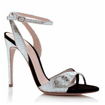 Women's Sandals Formal Shoes Leatherette Summer Wedding Party Split Joint Hollow Out Stiletto Heel