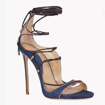 Women Shoes Denim Lace-up Thin Heels Peep Toe Sandals