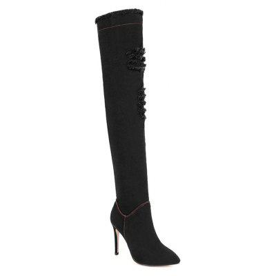 Women Shoes Pointed Slouch Boots Zipper