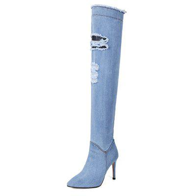 Womens Shoes Denim Winter Cowboy Fashion Slouch Boots Stiletto Heel Pointed Toe Over The Knee Boots ZipperWomens Boots<br>Womens Shoes Denim Winter Cowboy Fashion Slouch Boots Stiletto Heel Pointed Toe Over The Knee Boots Zipper<br><br>Boot Height: Over-the-Knee<br>Boot Tube Circumference: 33<br>Boot Tube Height: 55<br>Boot Type: Fashion Boots<br>Closure Type: Zip<br>Gender: For Women<br>Heel Height: 10<br>Heel Height Range: High(3-3.99)<br>Heel Type: Stiletto Heel<br>Insole Material: PU<br>Lining Material: PU<br>Outsole Material: Rubber<br>Package Contents: 1xShoes(pair)<br>Pattern Type: Solid<br>Platform Height: 1<br>Season: Summer, Spring/Fall<br>Shoe Width: Medium(B/M)<br>Toe Shape: Pointed Toe<br>Upper Material: PU<br>Weight: 2.1000kg