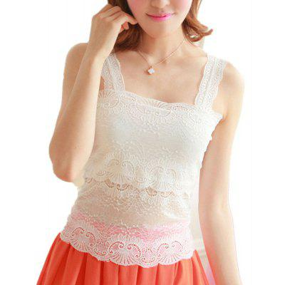 Ladies Short Vest Sexy Lace White and Black Sleeveless Camisole Shirt for New Fashion Girls