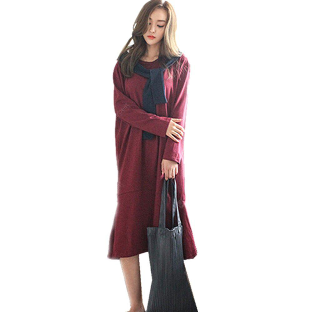 Loose and Casual Long Dress with A Long Tail