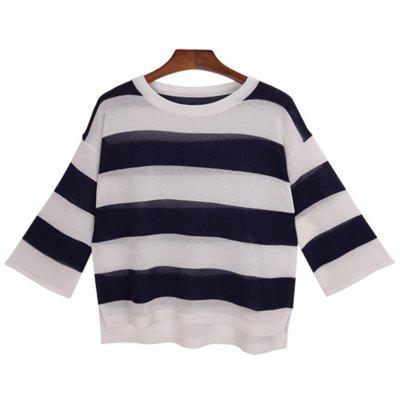 Simple Style Stripe Nine Point Sleeve Round Neck Sweater
