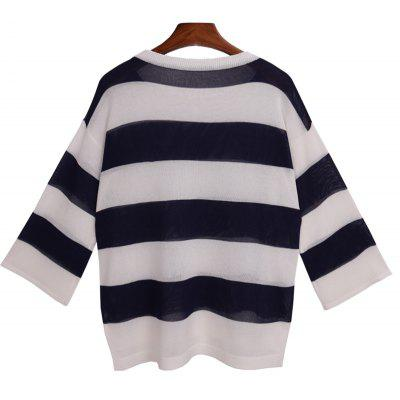 Simple Style Stripe Nine Point Sleeve Round Neck SweaterSweaters &amp; Cardigans<br>Simple Style Stripe Nine Point Sleeve Round Neck Sweater<br><br>Collar: Round Neck<br>Elasticity: Elastic<br>Material: Cotton<br>Package Contents: 1 x Sweater<br>Sleeve Length: Full<br>Style: Casual<br>Technics: Flat Knitted<br>Type: Pullovers<br>Weight: 0.2200kg
