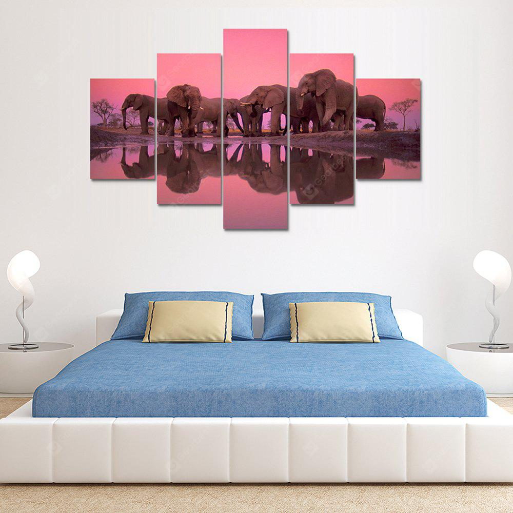 Elephants Canvas Print Painting Home Decoration Wall Rrt Picture 5 Panel