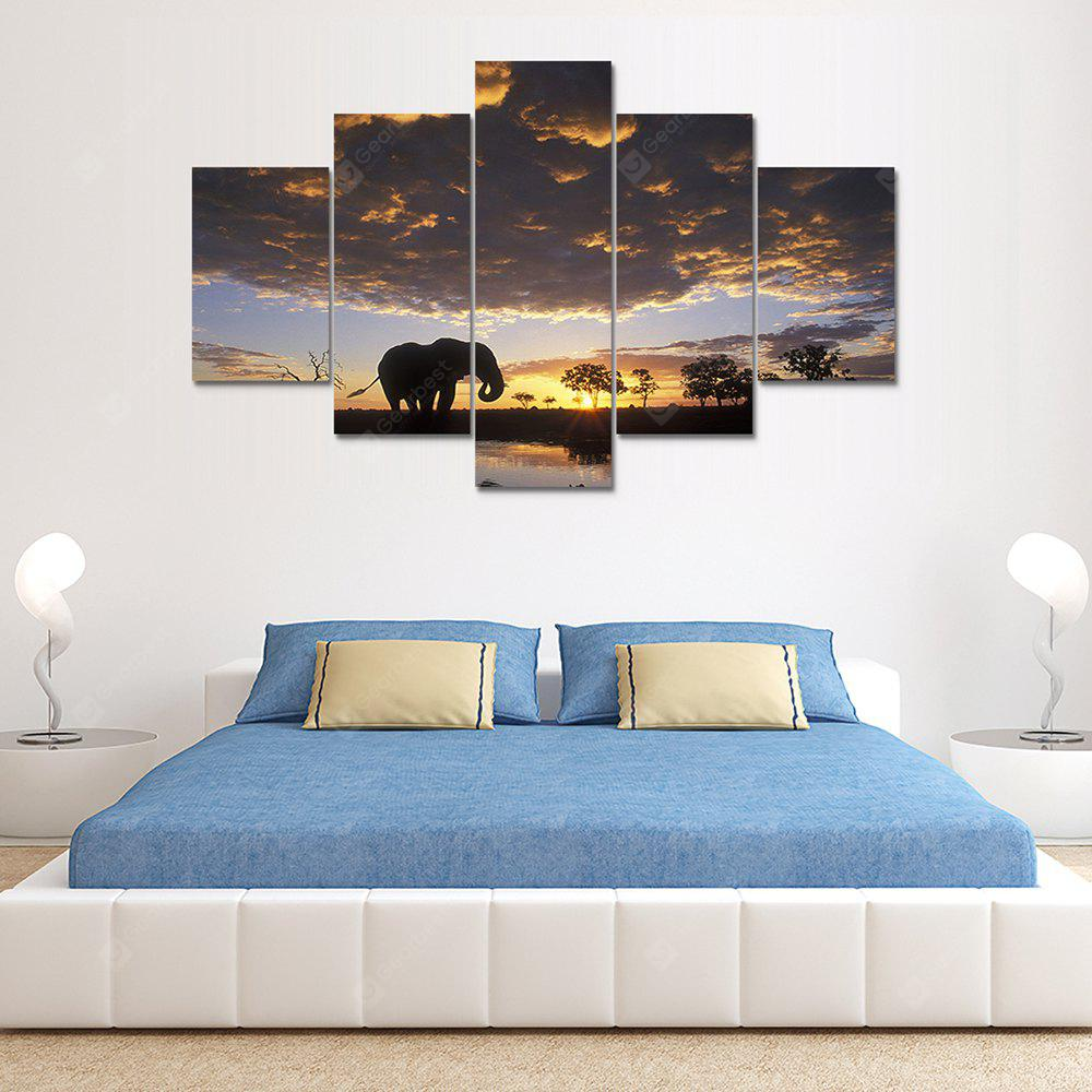 Clouds Elephant Canvas Print Painting Home Decoration Wall Rrt Picture 5 Panel