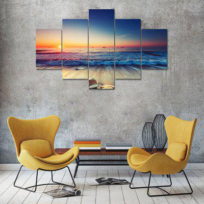 Sunset Seascape Canvas Print Painting Home Decoration Wall Art Picture 5 Panel