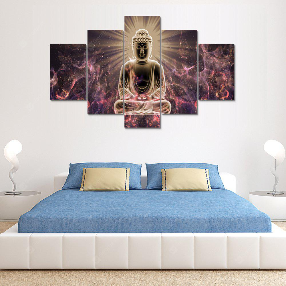 Buddha Sitting Canvas Print Painting Home Decoration Wall Art Picture 5 Panel