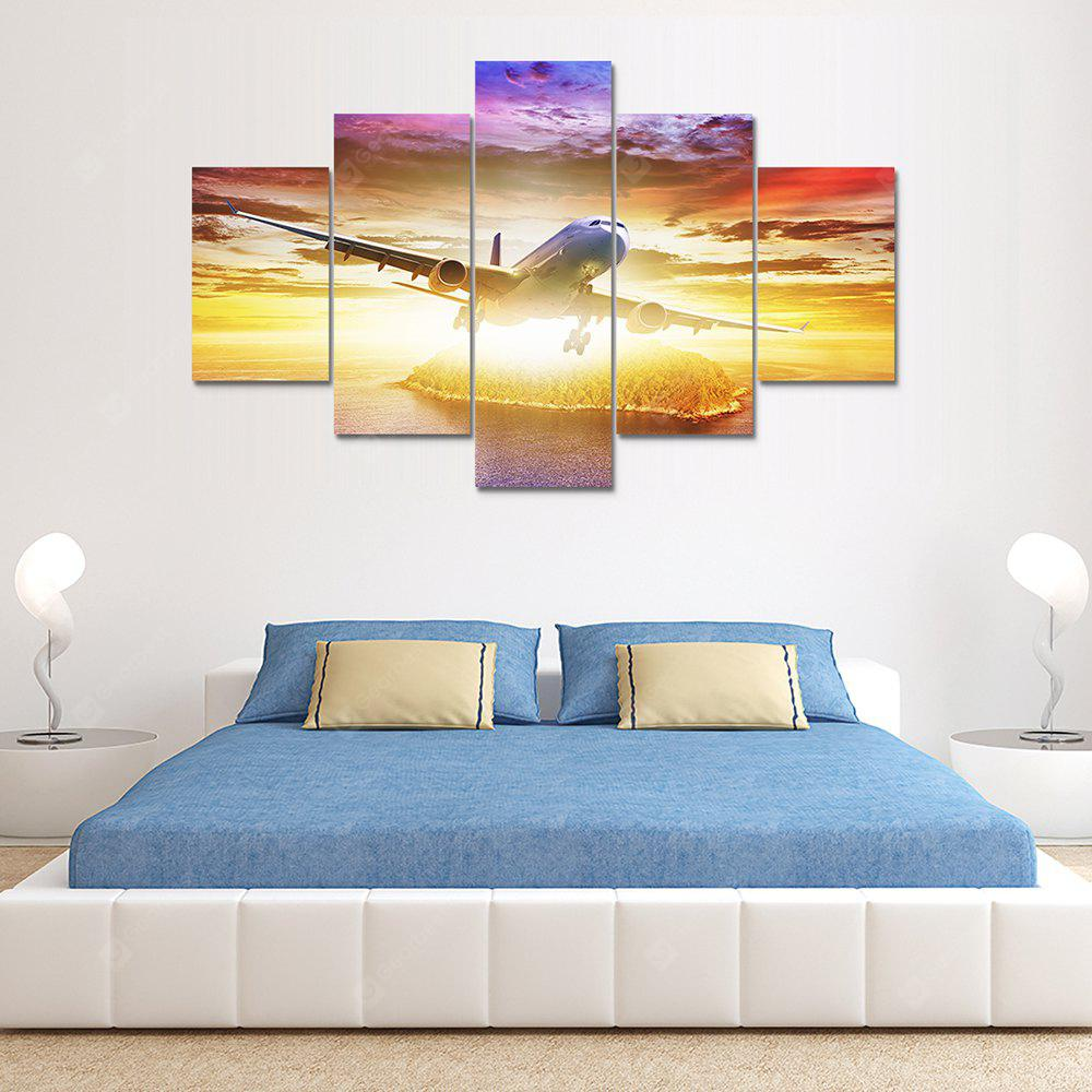 Clouds Plane Canvas Print Painting Home Decoration Wall Art Picture 5 Panel