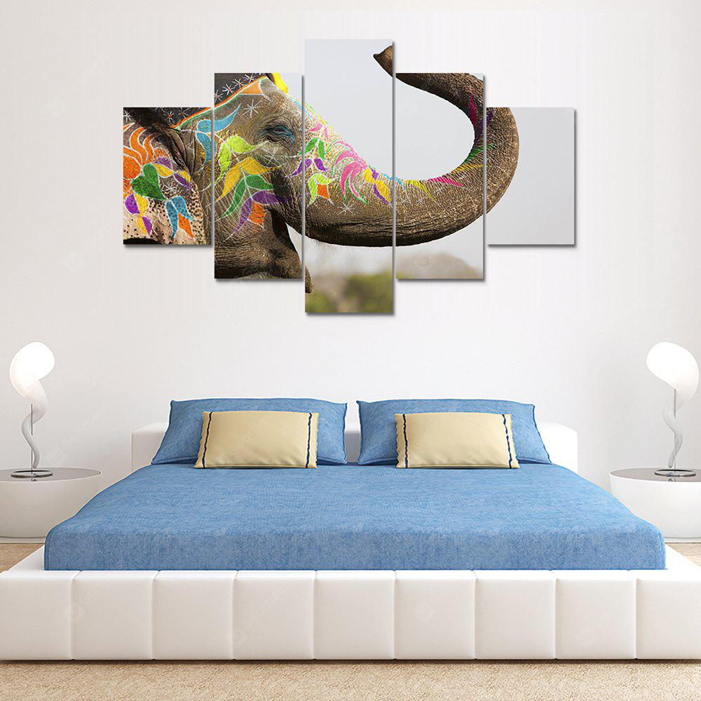 Colorful Elephant Canvas Print Painting Home Decoration Wall Art Picture 5 Panel