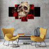 5 Panel Skull Rose Canvas Print Painting Home Decoration Wall Art Picture - COLORMIX