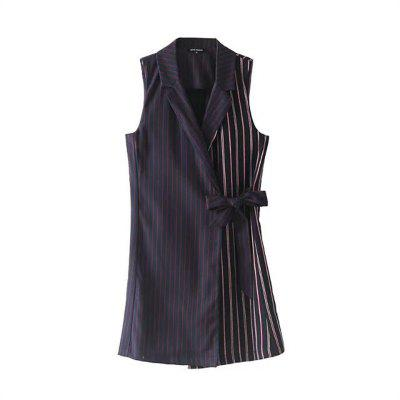 2017 New Women's Navy Blue Sleeveless Striped Coat