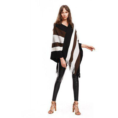 Individual Color Striped Tassel PulloverSweaters &amp; Cardigans<br>Individual Color Striped Tassel Pullover<br><br>Collar: V-Neck<br>Elasticity: Elastic<br>Material: Nylon, Acrylic<br>Package Contents: 1x   Shawl<br>Sleeve Length: Sleeveless<br>Style: Casual<br>Technics: Computer Knitted<br>Type: Pullovers<br>Weight: 0.5000kg