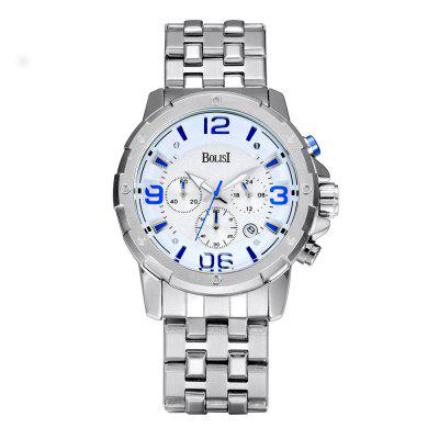 Buy 白色+蓝色 BOLISI 8205 4649 Classic Business Steel Band Men Quartz Watch for $21.99 in GearBest store