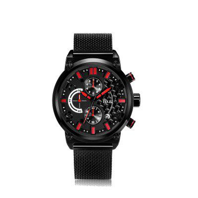 BOLISI 8208 4652 Outdoor Sports Steel Net with Men Quartz Watch with Box
