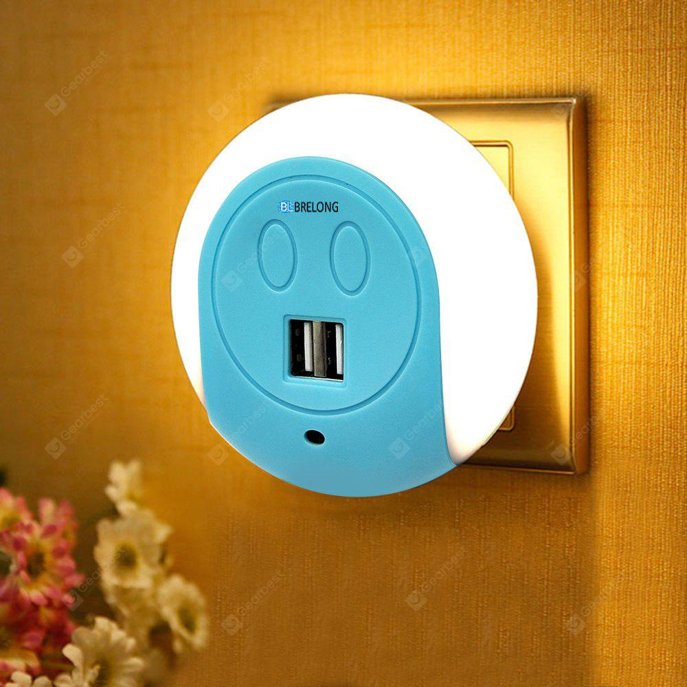BRELONG LED Night Light Dual USB Port Wall Charger  Light Sensor  2A 110-240V US