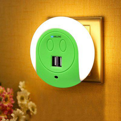 Buy GREEN BRELONG LED Night Light Dual USB Port Wall Charger Light Sensor 2A 110-240V EU for $8.99 in GearBest store