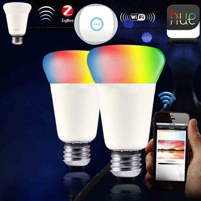 JIAWEN E27 9W  Smart RGB Bulb Wireless APP Control Working with Zigbee Hub AC 100 - 240VSmart Lighting<br>JIAWEN E27 9W  Smart RGB Bulb Wireless APP Control Working with Zigbee Hub AC 100 - 240V<br><br>Color Temperature or Wavelength: 3000 - 6500K / 450 - 490nm / 490 - 560nm / 700 - 635nm<br>Connection: E27<br>Connector Type: E27<br>CRI: 80<br>Dimmable: Yes<br>Features: Remote-Controlled<br>Initial Lumens ( lm ): 750<br>LED Beam Angle: 270 Degree<br>LED Quantity: 31<br>LED Type: SMD-2835<br>Lifetime ( h ): More Than  30000<br>Material: Aluminum+Plastic, Glass<br>Package Contents: 1 x LED Bulb<br>Package size (L x W x H): 8.00 x 8.00 x 13.30 cm / 3.15 x 3.15 x 5.24 inches<br>Package weight: 0.1730 kg<br>Primary Application: Bedroom,Home Decoration,Living Room,Living Room or Dining Room<br>Product size (L x W x H): 6.70 x 6.70 x 12.20 cm / 2.64 x 2.64 x 4.8 inches<br>Product weight: 0.1230 kg<br>Production Mode: Self-produce<br>Type: LED Smart Bulbs<br>Voltage: 100-240V<br>Wattage: 9W
