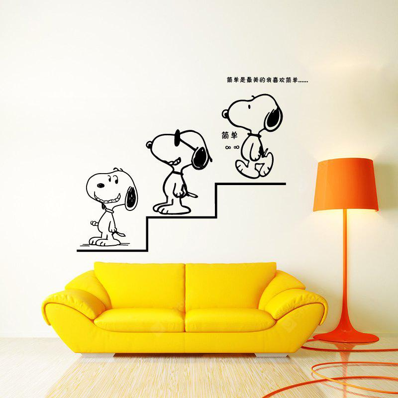 DSU Cartoon Puppies Go Down Stairs Simple Art Wall Stickers - $4.46 ...