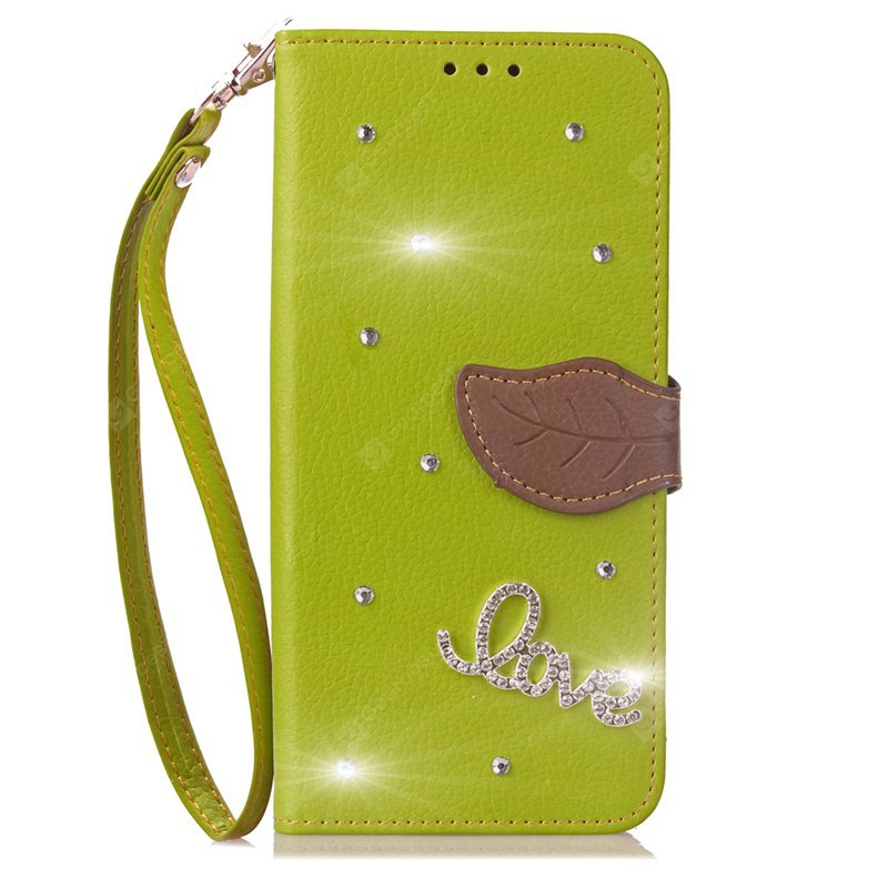 Love Leaf Stick Drill Card Lanyard Pu Leather for Xiaomi 5X, GREEN, Mobile Phones, Cell Phone Accessories, Cases & Leather