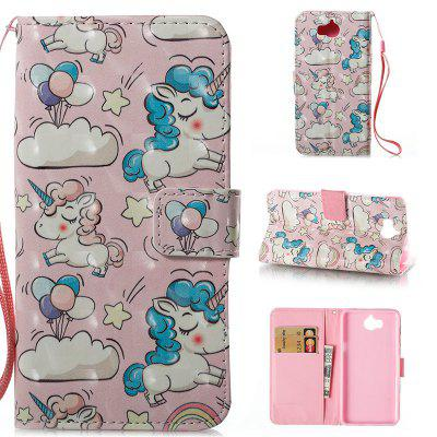 Buy Wkae 3D Stereo Painted Leather Case Cover for Huawei Y5 2017 / Y6 2017, PINK + BLUE, Mobile Phones, Cell Phone Accessories, Cases & Leather for $4.22 in GearBest store