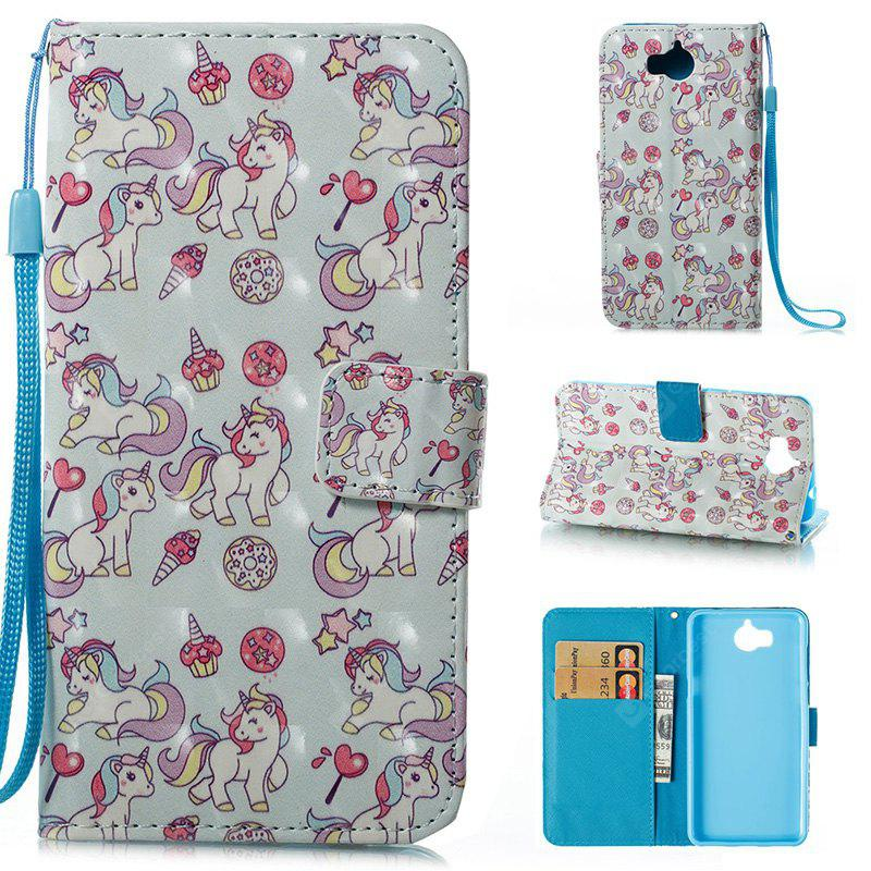 Wkae 3D Stereo Painted Leather Case Cover for Huawei Y5 2017 / Y6 2017