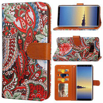 Wkae Abstract Flower PU Leather Case Cover for Samsung Galaxy Note 8